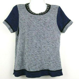 Madewell Womens Blouse Short Sleeve Zip Beaded